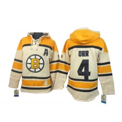 Adult Boston Bruins Bobby Orr Old Time Hockey Cream Authentic Sawyer Hooded Sweatshirt NHL Jersey