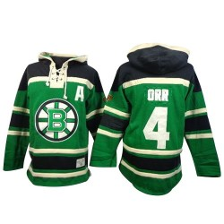 Adult Boston Bruins Bobby Orr Old Time Hockey Green Authentic St. Patrick's Day McNary Lace Hoodie NHL Jersey