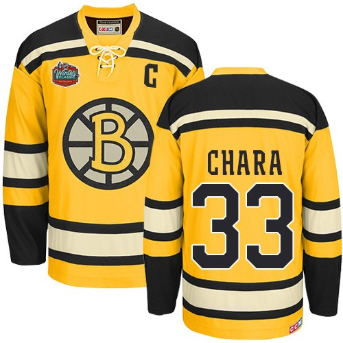 Adult Boston Bruins Zdeno Chara CCM Gold Premier Winter Classic Throwback NHL Jersey