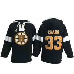Adult Boston Bruins Zdeno Chara Old Time Hockey Black Authentic Pullover Hoodie NHL Jersey