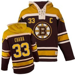 Adult Boston Bruins Zdeno Chara Old Time Hockey Black Authentic Sawyer Hooded Sweatshirt NHL Jersey