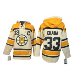 Adult Boston Bruins Zdeno Chara Old Time Hockey Cream Authentic Sawyer Hooded Sweatshirt NHL Jersey