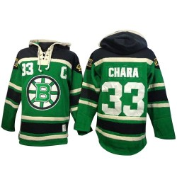 Adult Boston Bruins Zdeno Chara Old Time Hockey Green Authentic St. Patrick's Day McNary Lace Hoodie NHL Jersey