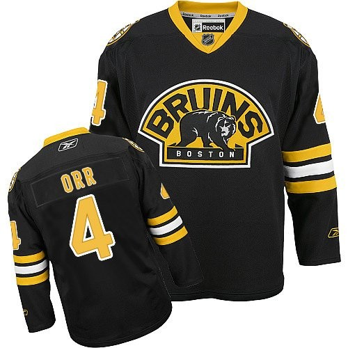 Adult Boston Bruins Bobby Orr Reebok Black Authentic Third NHL Jersey