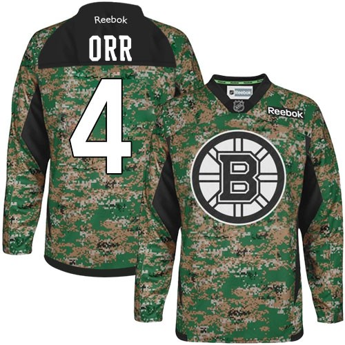 Adult Boston Bruins Bobby Orr Reebok Camo Authentic Veterans Day Practice NHL Jersey