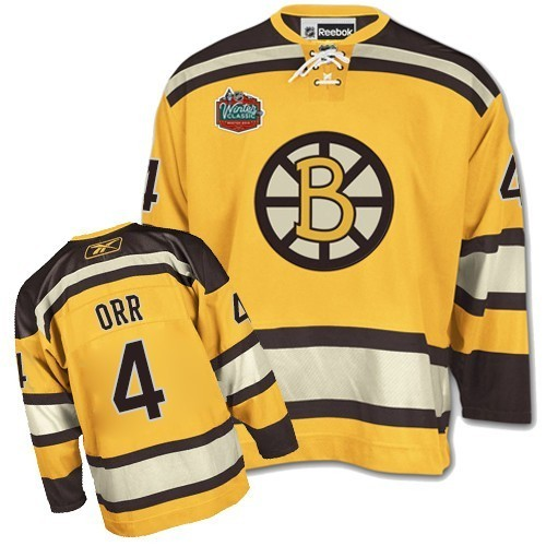 Adult Boston Bruins Bobby Orr Reebok Gold Premier Winter Classic NHL Jersey