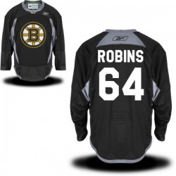 Adult Boston Bruins Bobby Robins Reebok Black Authentic Practice Alternate NHL Jersey