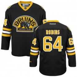 Adult Boston Bruins Bobby Robins Reebok Black Premier Alternate NHL Jersey