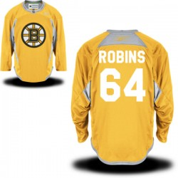 Adult Boston Bruins Bobby Robins Reebok Gold Premier Practice Team NHL Jersey