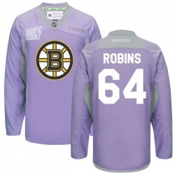 Adult Boston Bruins Bobby Robins Reebok Purple Premier 2016 Hockey Fights Cancer Practice NHL Jersey