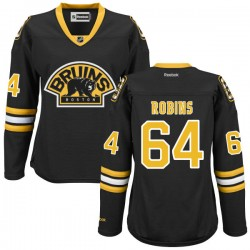 Women's Boston Bruins Bobby Robins Reebok Black Premier Alternate NHL Jersey