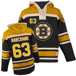 Adult Boston Bruins Brad Marchand Old Time Hockey Black Authentic Sawyer Hooded Sweatshirt NHL Jersey