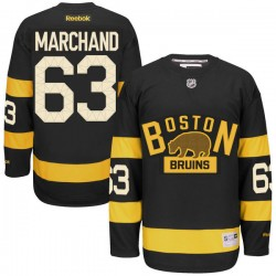 Adult Boston Bruins Brad Marchand Reebok Black Premier 2016 Winter Classic NHL Jersey