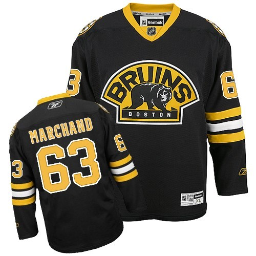 Adult Boston Bruins Brad Marchand Reebok Black Authentic Third NHL Jersey