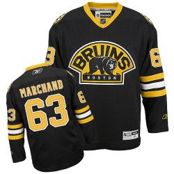 Youth Boston Bruins Brad Marchand Reebok Black Authentic Third NHL Jersey