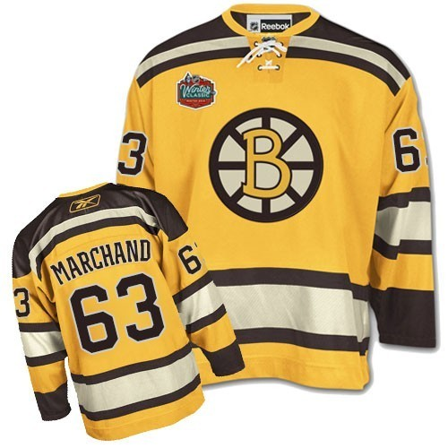 Youth Boston Bruins Brad Marchand Reebok Gold Authentic Winter Classic NHL Jersey
