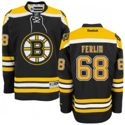 Adult Boston Bruins Brian Ferlin Reebok Black Authentic Home NHL Jersey