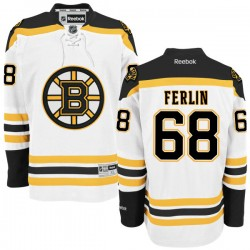 Adult Boston Bruins Brian Ferlin Reebok White Authentic Away NHL Jersey