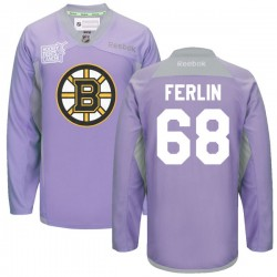 Adult Boston Bruins Brian Ferlin Reebok Purple Premier 2016 Hockey Fights Cancer Practice NHL Jersey