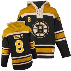 Adult Boston Bruins Cam Neely Old Time Hockey Black Authentic Sawyer Hooded Sweatshirt NHL Jersey