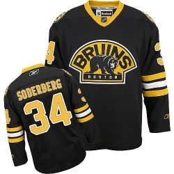 Adult Boston Bruins Carl Soderberg Reebok Black Authentic Third NHL Jersey