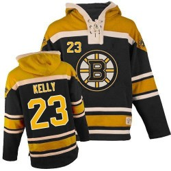 Adult Boston Bruins Chris Kelly Old Time Hockey Black Authentic Sawyer Hooded Sweatshirt NHL Jersey