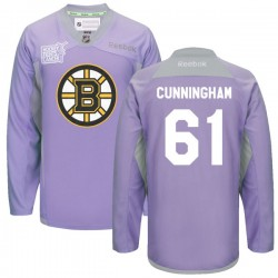 Adult Boston Bruins Craig Cunningham Reebok Purple Authentic 2016 Hockey Fights Cancer Practice NHL Jersey