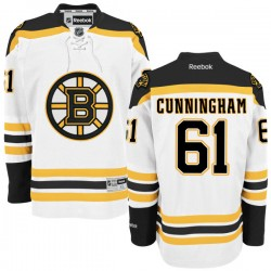 Adult Boston Bruins Craig Cunningham Reebok White Authentic Away NHL Jersey