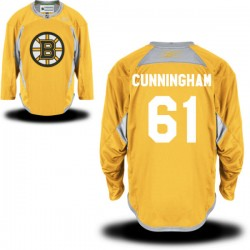 Adult Boston Bruins Craig Cunningham Reebok Gold Premier Practice Team NHL Jersey