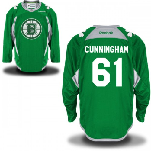 Adult Boston Bruins Craig Cunningham Reebok Green Premier St. Patrick's Day Practice NHL Jersey
