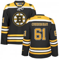 Women's Boston Bruins Craig Cunningham Reebok Gold Authentic Black/ Home NHL Jersey