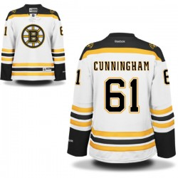 Women's Boston Bruins Craig Cunningham Reebok White Authentic Away NHL Jersey