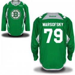 Adult Boston Bruins David Warsofsky Reebok Green Premier St. Patrick's Day Practice NHL Jersey
