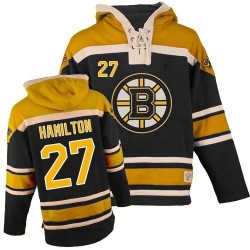 Adult Boston Bruins Dougie Hamilton Old Time Hockey Black Authentic Sawyer Hooded Sweatshirt NHL Jersey