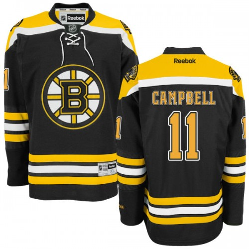 Adult Boston Bruins Gregory Campbell Reebok Black Authentic Home NHL Jersey