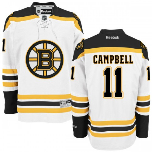 Adult Boston Bruins Gregory Campbell Reebok White Authentic Away NHL Jersey