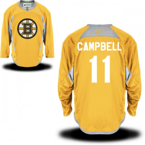 Adult Boston Bruins Gregory Campbell Reebok Gold Premier Practice Team NHL Jersey