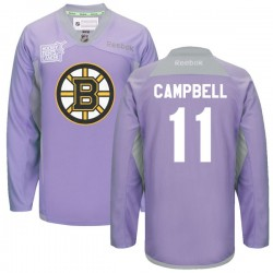 Adult Boston Bruins Gregory Campbell Reebok Purple Premier 2016 Hockey Fights Cancer Practice NHL Jersey