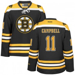 Women's Boston Bruins Gregory Campbell Reebok Gold Authentic Black/ Home NHL Jersey