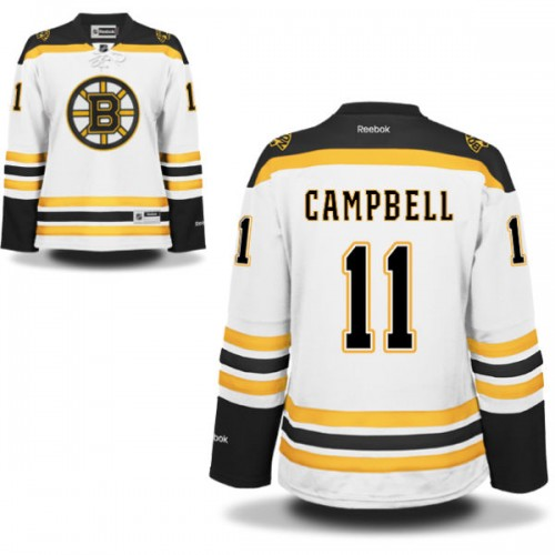 Women's Boston Bruins Gregory Campbell Reebok White Authentic Away NHL Jersey