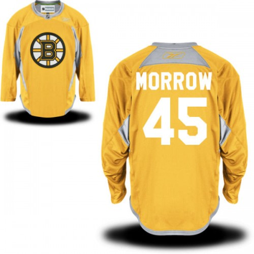 Adult Boston Bruins Joe Morrow Reebok Gold Authentic Practice Team NHL Jersey