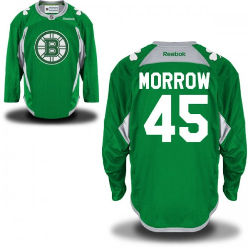 Adult Boston Bruins Joe Morrow Reebok Green Authentic St. Patrick's Day Practice NHL Jersey