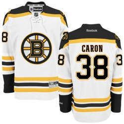 Adult Boston Bruins Jordan Caron Reebok White Authentic Away NHL Jersey