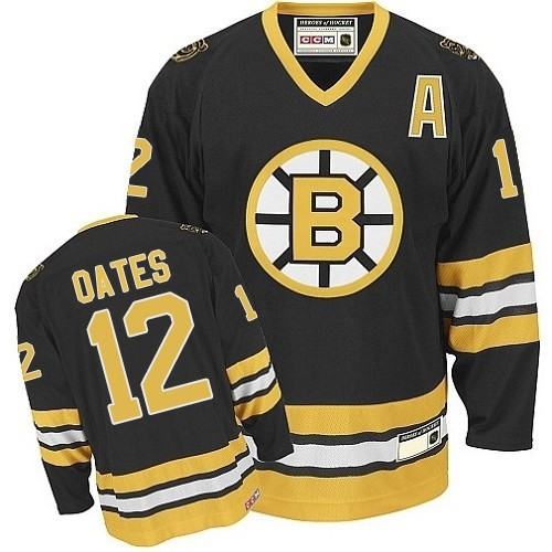 Adult Boston Bruins Adam Oates CCM Gold Authentic Black/ Throwback NHL Jersey