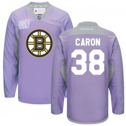Adult Boston Bruins Jordan Caron Reebok Purple Premier 2016 Hockey Fights Cancer Practice NHL Jersey