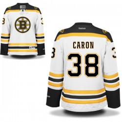 Women's Boston Bruins Jordan Caron Reebok White Authentic Away NHL Jersey