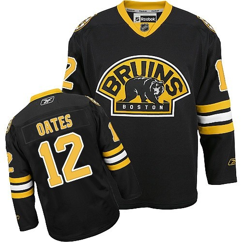 Adult Boston Bruins Adam Oates Reebok Black Authentic Third NHL Jersey
