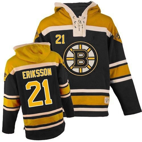 Adult Boston Bruins Loui Eriksson Old Time Hockey Black Authentic Sawyer Hooded Sweatshirt NHL Jersey