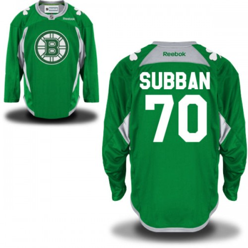 Adult Boston Bruins Malcolm Subban Reebok Green Premier St. Patrick's Day Practice NHL Jersey