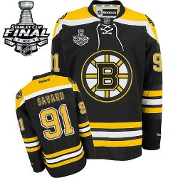 Adult Boston Bruins Marc Savard Reebok Black Authentic Home 2013 Stanley Cup Finals NHL Jersey